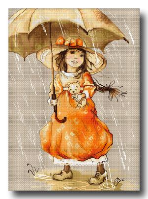 bambina con ombrello punto croce