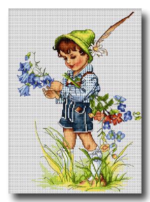 bambino con fiori punto croce