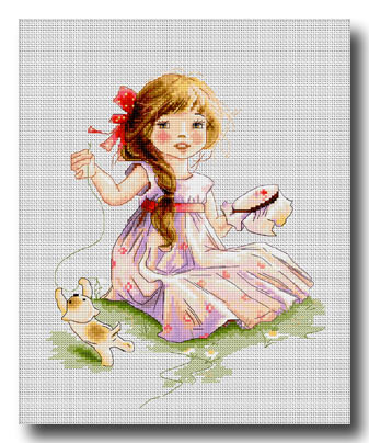 bambina che ricama punto croce