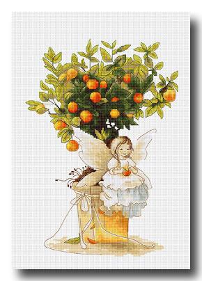 fatina con arance punto croce