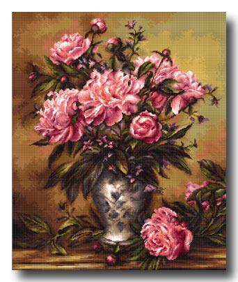 vaso con rose piccolo punto