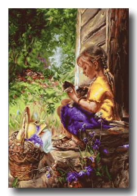 bambina seduta piccolo punto