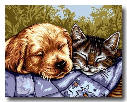 Cane e gatto mezzo punto mezzo punto punto croce gobelin for Disegno gatto facile