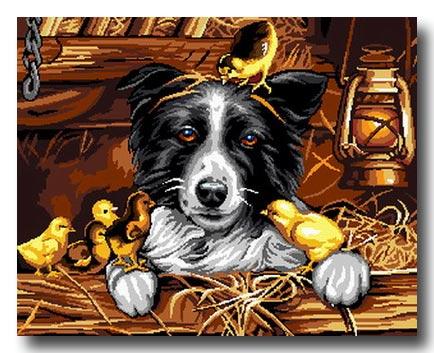Cane e pulcini mezzopunto