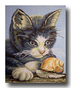 Gatto con lumaca mezzo punto punto croce gobelin a for Disegno gatto facile