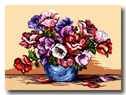 vaso di papaveri variopinti