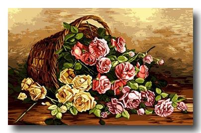 cesto con rose mezzo punto