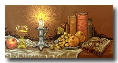 candela e libri  mezzo punto