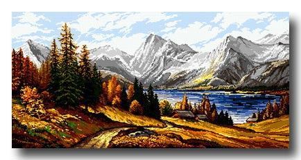 Paesaggio di montagna mezzo punto punto croce gobelin a for Disegno paesaggio marino
