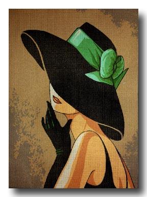 dama con cappello mezzo punto
